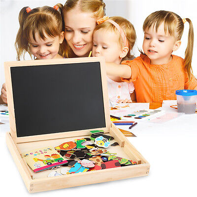 Baby Kids Toy Wooden Drawing Writing Board Magnetic Puzzle Double Easel XP