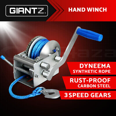 Giantz 2000KG/4410LBS 3 Speed Hand Winch Dyneema Synthetic Rope Boat Car 10M