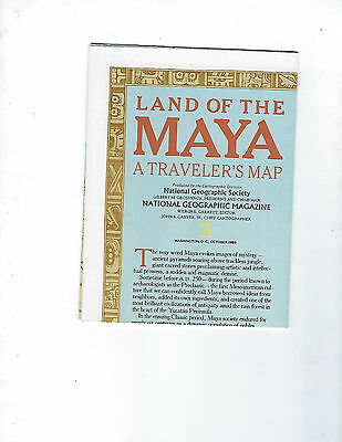 October 1989 National Geographic Land Of The Maya A Traveler's Wall Map - Mint