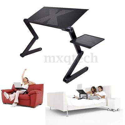 Folding Adjustable Laptop Desk Computer Table Stand For Sofa Bed Couch Black