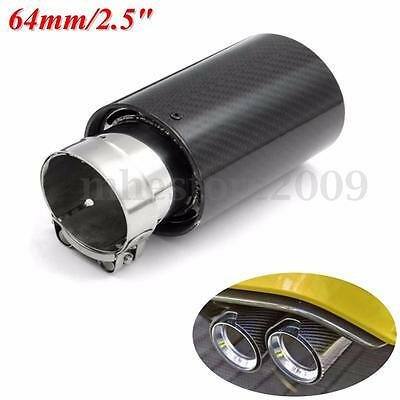 "2.5"" 64mm Inlet Carbon Fiber Exhaust Muffler Silencer Pipe Tip For BMW Universal"