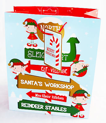 2 Pack Large Christmas Gift Bags Santa Elf Helpers North Pole Sign