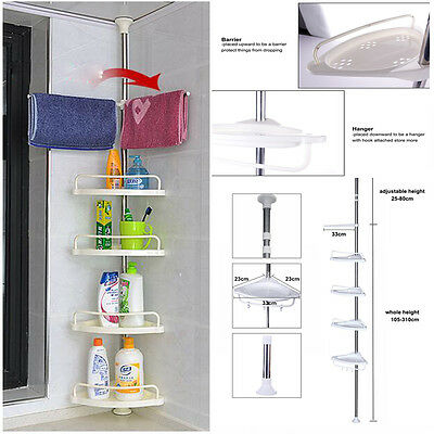 Space-Saving 4 Tier Telescopic Bathroom Corner Shelf Rack Shower Caddy Storage