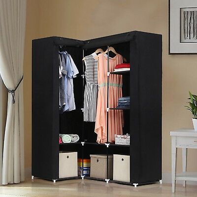 Non-woven Corner Foldable Wardrobe with 2 Hanging Rail 129x87x169cm Black LSF42H