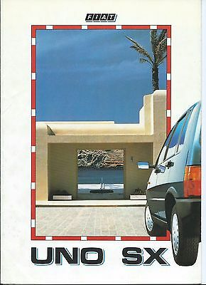 Fiat Uno SX  Italian Language Brochure Colour Options 1987