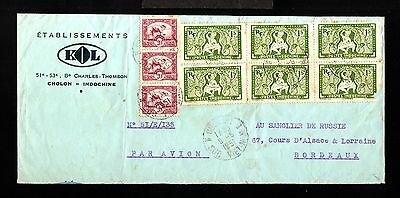 12734-INDOCHINA-AIRMAIL COVER CHOLON to BORDEAUX (france)1951.French colonies.