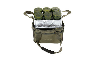Trakker NEW Carp Fishing Luggage NXG Chilled Bait Bag Inc 6 Glug Pots - 204700