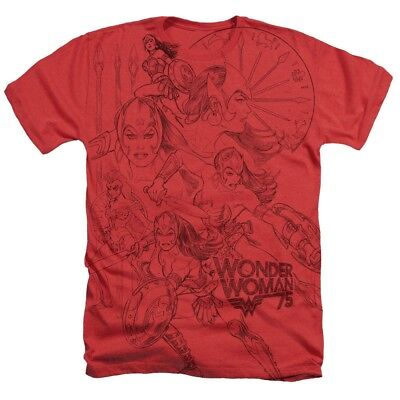 Sizes S-2XL New Authentic DC Wonder Woman 75 Sketches Collage Heathered T-Shirt