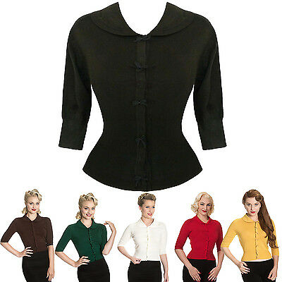 Womens Ladies Sexy Cropped Bow Vintage 1950s Retro Summer Cardigan Top UK
