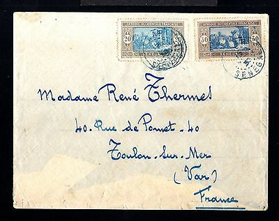 12698-SENEGAL-OLD COVER DAKAR to TOULON (france).1930.WWII.FRENCH colonies.A.O.F