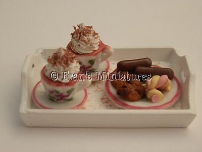 Dolls house food: Shabby chic midnight munchies  tray -By Fran
