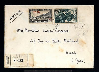 12748-GUINEE-AIRMAIL REGISTERED COVER LABE to AUCH (france).1946.WWII.FRENCH.