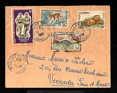 12745-CAMEROON-OLD COVER DOUALA to VERADES (france)1964.FRENCH colonies.Cameroun