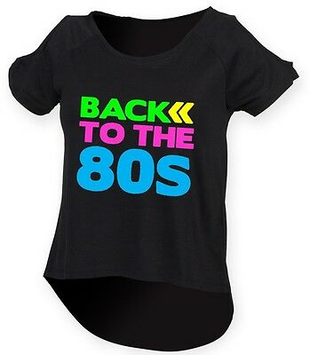BACK TO THE 80s Ladies Drop Tail Top 8-18 80's Outfit Fancy Dress Costume Neon