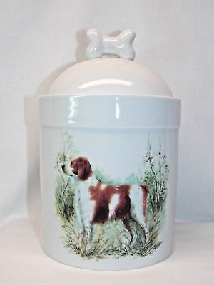 Brittany Hunting Dog Porcelain Treat Jar Fired Body Decal 8 In Tall