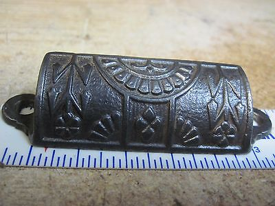 ORIGINAL 1800's CAST IRON EASTLAKE metal drawer BIN pull ANTIQUE cast iron