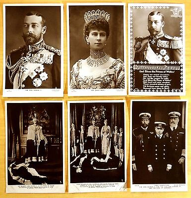 6 vintage Photo Postcards King George V Queen Mary England ROYALTY 3 generations
