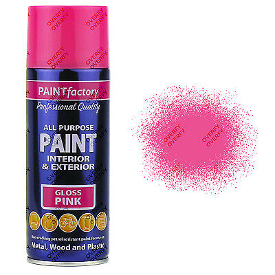 x1 400ml All Purpose Pink Gloss Aerosol Spray Paint Can Household Car Plastic..