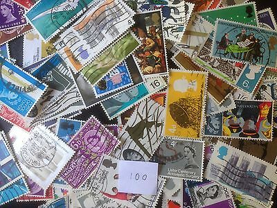 100 Different Great Britain Commemoratives 1953-1970 Stamp Collection
