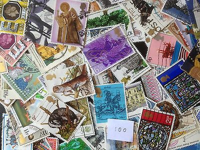 100 Different Great Britain Commemoratives 1971-1979 Stamp Collection
