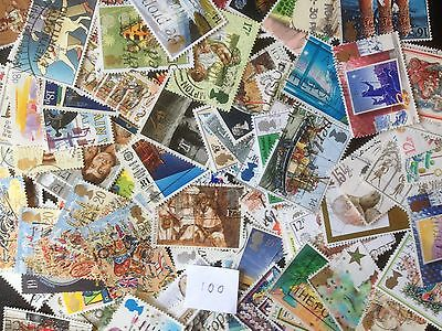 100 Different Great Britain Commemoratives 1980-1989 Stamp Collection