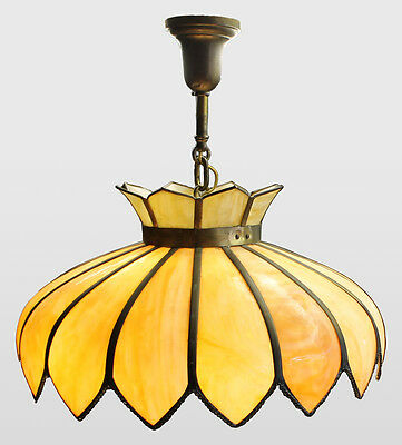 Antique ceiling mount hanging Light Fixture – Curved paneled glass Shade