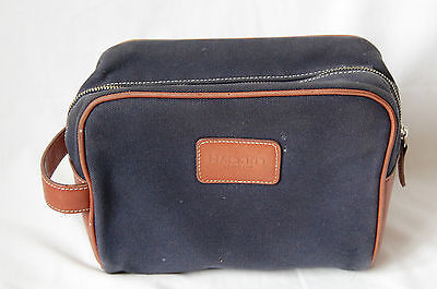 mens blue canvas leather HACKETT travel toiletry bag case