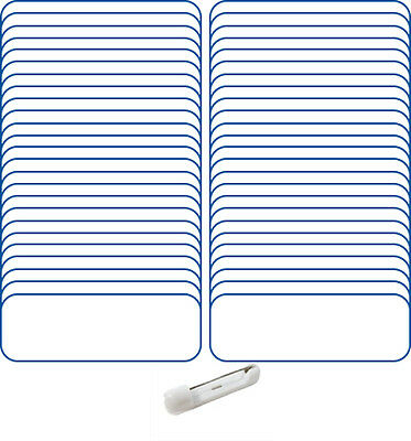 "50 Blank 1 X3 White / Blue Name Badge Kit(A) Tags 1/4"" Corners Pins Clear Labels"