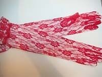 Red Lace Elbow Length Gloves For Dancers Or Red Hat Society Ladies