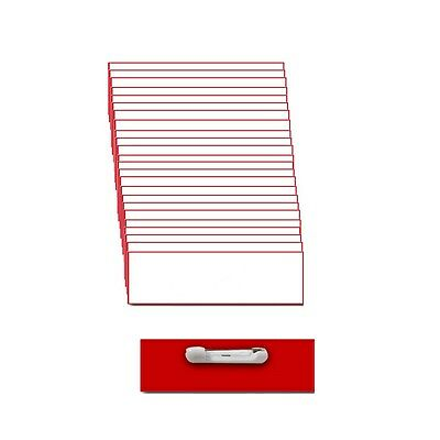 25 Blank 1 X 3 White / Red Name Badge Kit (A) Tags Beveled Pins Clear Labels