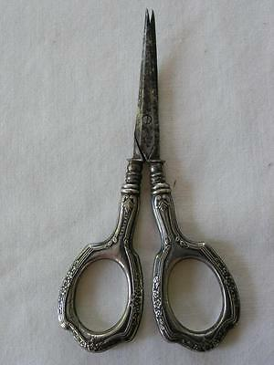 Vintage Sterling Silver Ornate Sewing Scissors Marked W,h,s, Co. Germany