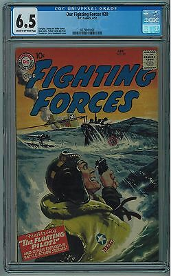 OUR FIGHTING FORCES #20 CGC 6.5 EARLY DC WASH COVER w/ NAZI SWASTIKA CR/OW PAGES