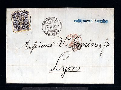12800-SWITZERLAND-COVER LETTER GENEVA to LYON (france)1871.Suisse.Carta SUIZA