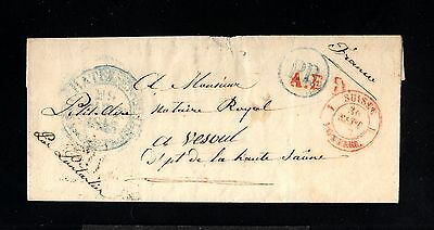 12794-SWITZERLAND-PRE-PHILATELIC LETTER NEUCHATEL to VESOUL(france)1843.Suisse.