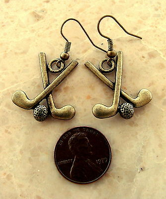 GOLF CLUB and BALL Jewelry EARRINGS - Vintage Art Deco Style - 3-D Golf Clubs