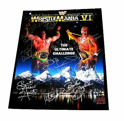 Wwe Wrestlemania Vi Hand Signed 16X20 Poster By 13 With Hogan Hologram & Coa