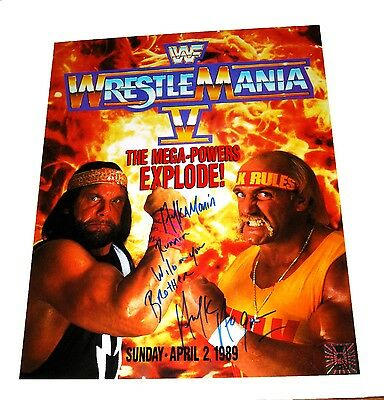 Wwe Hulk Hogan Wrestlemania V Hand Signed 16X20 Poster With Hogan Hologram & Coa