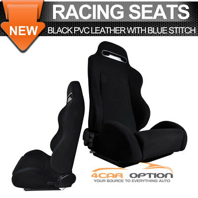 Universal Fit Black Cloth RS Style Full Reclinable Racing Seats Pair + Sliders