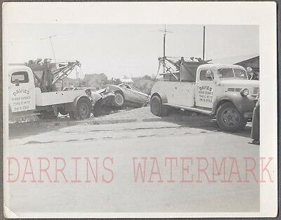 Vintage Photo 1956 Ford Fairlane Car Wreck w/ 1950 Dodge Tow Truck 699762