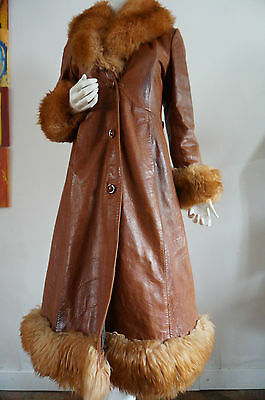 Veste 3/4 redingote CUIR leather Fur T 38 vINtage VTG hIPPIE jACKET fourrure
