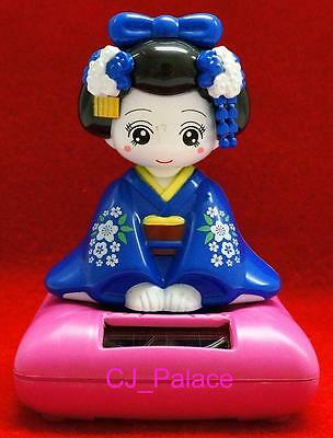 Nohohon Flip Flap Solar Powered Japanese Girl in Kimono Geisha Maiko-Blue Color