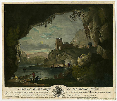Antique Print-LANDSCAPE-CASTLE-RUIN-FISHING-Vernet-De Marcenay-1756