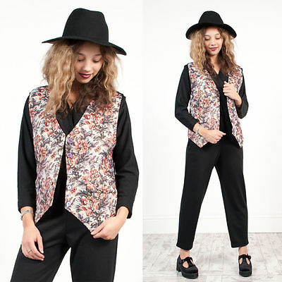 Womens Vintage 90's Floral Pattern Tapestry Hippie Boho Waistcoat Vest 12