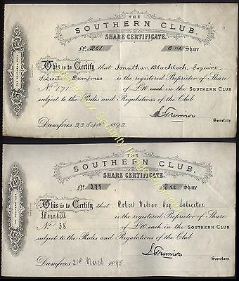 1892-95 DUMFRIES, Southern Club,  Two Shares of £10- Each