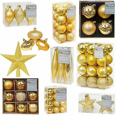 Gold Collection Christmas Decorations Baubles Stars Cones Hearts Tree Topper