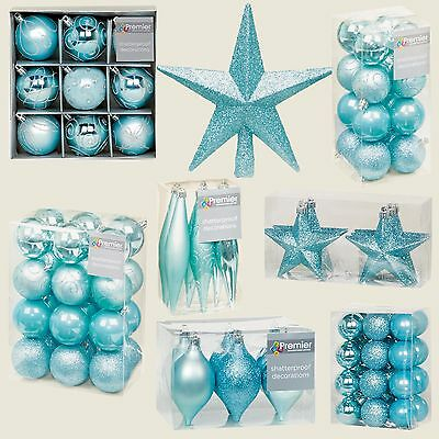 Ice Blue Collection Christmas Decorations Baubles Stars Cones Hearts Tree Topper
