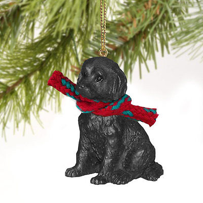 LABRADOODLE dog HAND PAINTED ORNAMENT Resin Figurine BLACK Puppy CHRISTMAS New