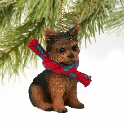 YORKIE PUPPY dog HANDPAINTED ORNAMENT Resin Figurine CHRISTMAS Yorkshire Terrier