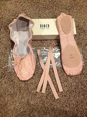 Adult Bloch Brand Size 9B Pink LEATHER SPLIT SOLE BALLET SLIPPERS NEW !!