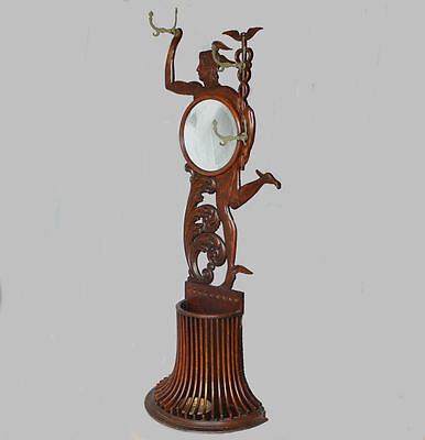 Antique Oak Mercury Figural Hall tree with Mirror and Coat Hooks